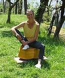 Katrin Pfister-Rosenzweig on one of her sitting stones