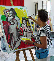 Binnen schilderen op groot formaat