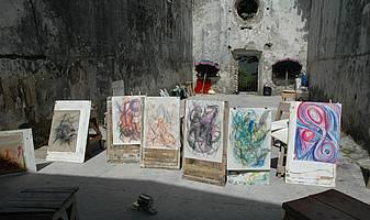 De theaterzaal in het dorpshuis is ons 2de schildersatelier
