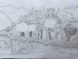 Handgefertigte Skizze aus dem Dorf Azzano