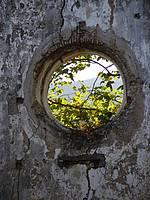 Oud vensterrozet op de werkplek in La Cappella