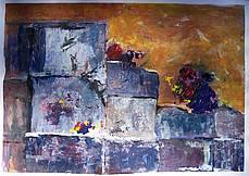 Deze schildering geeft een kunstzinnige impressie van marmerblokken