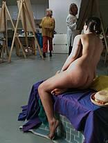 A posing nude model