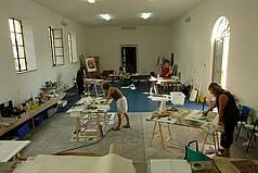 Innenraum des Mal-Ateliers